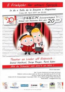 L'école bilingue A.B.C.M. Zweisprachigkeit de Haguenau et l'association des parents d'élèves OMA fêtent leurs 20 ans le vendredi 28 avril 2017