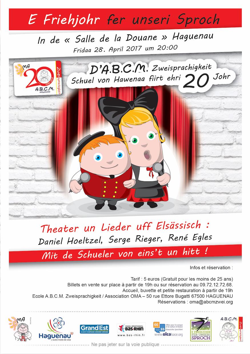 Friehjohr fer unseri Sproch - 20 ans A.B.C.M. Zweisprachigkeit - vendredi 28 avril 2017