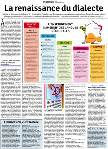 Revue de presse – DNA – L'enseignement immersif des langues régionales